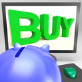 Buy On Monitor Shows Shopping Royalty Free Stock Photography