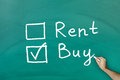 Buy not rent concept on green blackboard Stock Photos
