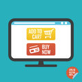 Buy now and add to cart buttons on screen flat icon. Illustration for website or mobile application.