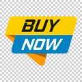 Buy now banner badge icon. Vector illustration on isolated trans Royalty Free Stock Photo
