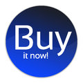 Buy in now button illustration of a circular it with a white background Stock Photo