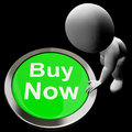 Buy now button shows purchasing and online shopping showing Royalty Free Stock Photos