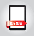 Buy now in the cellphone over gray background vector illustration Royalty Free Stock Photos
