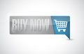 Buy now shopping cart button pointer illustration design over white Royalty Free Stock Images