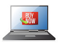Buy now sign on a laptop. illustration design Royalty Free Stock Photo