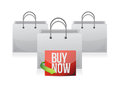 Buy now sign on a shopping bag illustration design over white Stock Photography