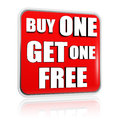 Buy one get one free red banner Stock Photography