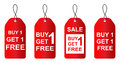Buy one get one free red sale tag Stock Image