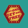 Buy one get one free retro style blue ocher red hexagon label with text and stars business concept Royalty Free Stock Photography