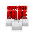 Buy one and get one shopping bag illustration Royalty Free Stock Photo