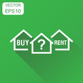 Buy or rent house dilemma icon. Business concept home pictogram. Royalty Free Stock Photo