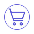 Buy, shopping cart circular line icon. Round sign. Flat style vector symbol. Royalty Free Stock Photo