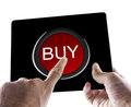 Buy via tablet male hands holding a black with symbol over white Royalty Free Stock Image