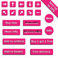 Buy web pink buttons for website or app Royalty Free Stock Photo