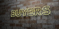 BUYERS - Glowing Neon Sign on stonework wall - 3D rendered royalty free stock illustration Royalty Free Stock Photo