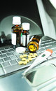 Buying medicine on-line Royalty Free Stock Photo