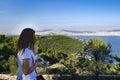 Buyukada, hill summit Yucetepe. Tourists watching her views appe Royalty Free Stock Photo