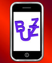 Buzz on phone showing awareness exposure and publicity Stock Photos
