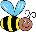 Buzzing bee a cartoon illustration of a friendly Stock Photography