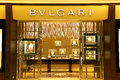Bvlgari boutique of italian luxury goods brand now owned by french firm lvmh displaying diversified luxuryy jewelry items at the Royalty Free Stock Photography