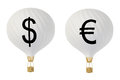 Bw currency hot air balloons: Dollar and Euro Royalty Free Stock Photo