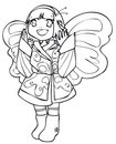 BW - Manga Kid with a Butterfly Costume Stock Photo