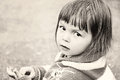 Bw toddler portrait black and white close up girl Stock Photography