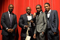 Bya awards black youth achievements in london uk th nov father of the year category winner fredi nwaka and his two son at the th Stock Photos