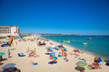 Byala beautiful sandy beach on the black sea in bulgaria crowded with tourists summer number of foreigners visiting august Stock Images