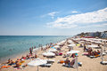 Byala beautiful sandy beach on the black sea in bulgaria crowded with tourists summer number of foreigners visiting august Royalty Free Stock Images