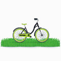 Bycicle on grass isolated on white background Stock Photo