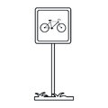 Bycicle road sign parking post linear Royalty Free Stock Photo