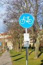 Bycicle sign showing directions of bicycle paths in the center of poznan poland Stock Photography