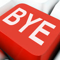 Bye key means farewell or departing on keyboard meaning departure leave Stock Images