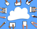 BYOD Bring your own Device Tablets Cloud and Hands Royalty Free Stock Photo