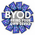Byod bring your own device tablets computers mobile work acronym and the words on a circlular pattern of tablet to illustrate a Royalty Free Stock Photo