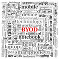 Byod concept in tag cloud bring your own device Royalty Free Stock Photo