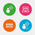 BYOD signs. Human with notebook and smartphone.