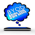 Byod smart cell phone thought cloud bring your own device words and letters abbreviation in a over a or tablet computer wishing it Royalty Free Stock Images