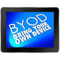 Byod tablet computer blue screen bring your own device acronym meaning on a to show the company policy will allow and encourage Stock Images