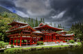 Byodo in temple japanese at the valley of the temples oahu hawaii Stock Photography