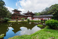 Byodo in temple valley of the temples hawaii beautiful with koolau mountains on oahu Stock Photography