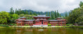 Byodo in temple valley of the temples hawaii panorama with koolau mountains on oahu against a foggy sky Stock Photo