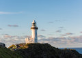 Byron Bay lighthouse at dusk in New South Wales, Australia Royalty Free Stock Photo