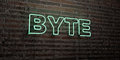 BYTE -Realistic Neon Sign on Brick Wall background - 3D rendered royalty free stock image Royalty Free Stock Photo