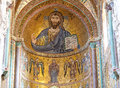 Byzantine Christ Pantocrator mosaic, Duomo, Cefalu, Sicily, Italy Royalty Free Stock Photo