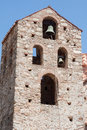 Byzantine church mystras the campanary tower with bells of a convent in peloponnese greece Royalty Free Stock Images