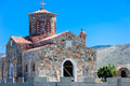 Byzantine church of panagia in arhontiko over the mountain crete island greece Royalty Free Stock Images