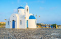 The byzantine church white on seashore in protaras cyprus Royalty Free Stock Images