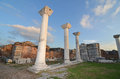 Byzantine columns ancient stand in the ruins of the basilica of st john ephesus turkey Stock Photography